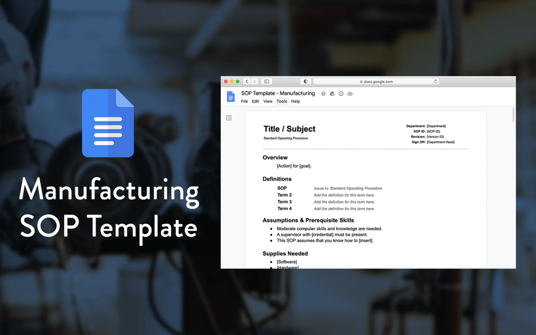 A Simple Manufacturing SOP Template