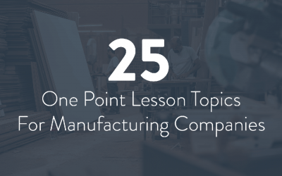 25 One Point Lesson Topics For Manufacturing